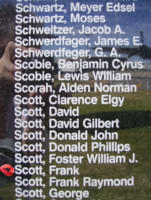 Memorial– Flying Officer Frank Scott is commemorated on the Bomber Command Memorial Wall in Nanton, AB … photo courtesy of Marg Liessens
