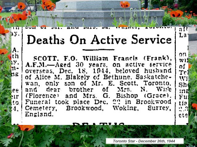"Newspaper Clipping– ""Deaths on Active Service"" - newspaper column."