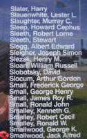 Memorial– Flying Officer Jack Alfred Smallwood is commemorated on the Bomber Command Memorial Wall in Nanton, AB … photo courtesy of Marg Liessens