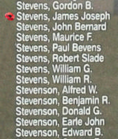 Memorial– Sergeant James Joseph Ursan Stevens is also commemorated on the Bomber Command Memorial Wall in Nanton, AB … photo courtesy of Marg Liessens