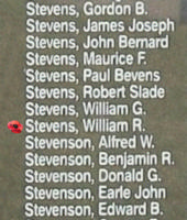 Memorial– Pilot Officer William Richard Stevens is also commemorated on the Bomber Command Memorial Wall in Nanton, AB … photo courtesy of Marg Liessens