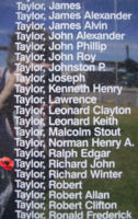 Memorial– Sergeant Richard John Taylor is commemorated on the Bomber Command Memorial Wall in Nanton, AB … photo courtesy of Marg Liessens