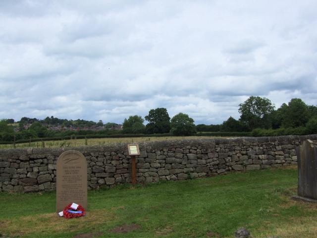 Cemetery– View looking towards the crash site on the tree line beyond the boundary of the churchyard