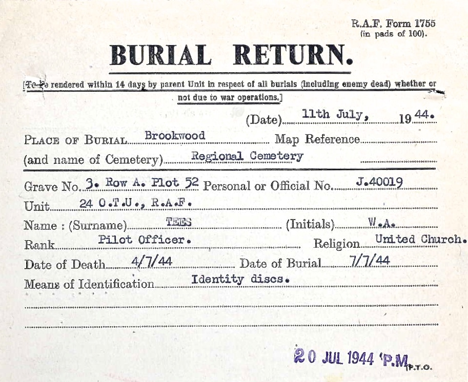 Burial Return Document– Submitted for the project Operation Picture Me
