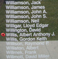 Memorial– Sergeant Albert Anthony Joseph Willis is also commemorated on the Bomber Command Memorial Wall in Nanton, AB … photo courtesy of Marg Liessens