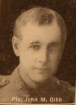 Photo of John McFarlane Gibb– In memory of the men and women from the Waterloo area who went to war and did not come home. From the booklet, Peace Souvenir – Activities of Waterloo County in the Great War 1914 – 1918. From the Toronto Public Library collection.  Submitted for the project, Operation: Picture Me.