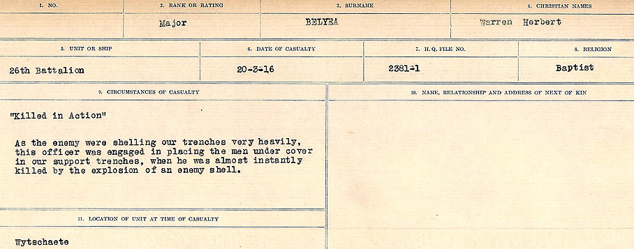 Circumstances of Death– Source: Library and Archives Canada.  CIRCUMSTANCES OF DEATH REGISTERS FIRST WORLD WAR Surnames:  Bell to Bernaquez.  Mircoform Sequence 8; Volume Number 31829_B016718; Reference RG150, 1992-93/314, 152 Page 319 of 670.