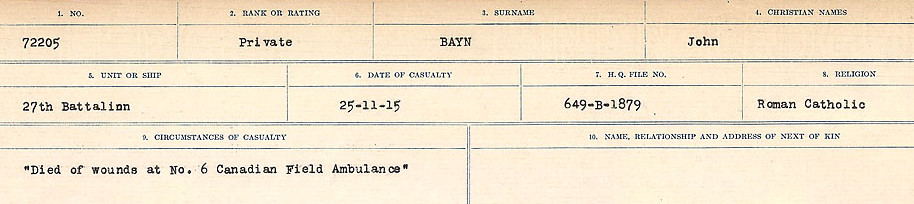 Circumstances of Death Registers– Source: Library and Archives Canada.  CIRCUMSTANCES OF DEATH REGISTERS, FIRST WORLD WAR Surnames:  Bark to Bazinet. Microform Sequence 6; Volume Number 31829_B016716. Reference RG150, 1992-93/314, 150.  Page 1041 of 1058.