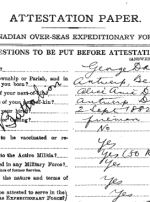 Attestation Papers– attestation paper First name is George but on grave marker his name is Josephus.  Same service number.