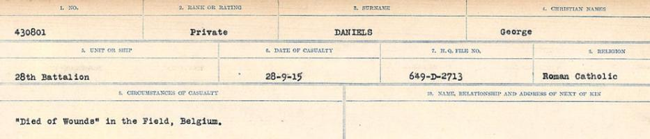 Circumstances of death registers– Source: Library and Archives Canada. CIRCUMSTANCES OF DEATH REGISTERS, FIRST WORLD WAR Surnames: Dack to Dabate. Microform Sequence 26; Volume Number 31829_B016735. Reference RG150, 1992-93/314, 170. Page 331 of 1140.