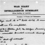 War Diary– War Diary for February 1916 of the 6th Field Company, Canadian Engineers, 2nd Canadian Division, recording the death of Leonard McQuay. Source: National Archives of Canada.