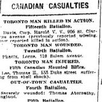 Newspaper Clipping– Casualty list including Leonard McQuay, from the Toronto Star for 11 March 1916, page 7.
