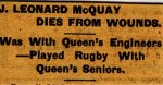 Newspaper Clipping– Clipping from the Kingston Whig for 20 March 1916.