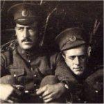 Photo 3 of James Leonard McQuay– Sapper James Leonard McQuay, no. 622, on right leaning against a friend.