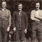 Group Photo– James Leonard McQuay in middle with two army friends.