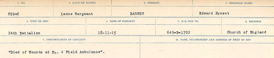 Circumstances of Death– Source: Library and Archives Canada.  CIRCUMSTANCES OF DEATH REGISTERS, FIRST WORLD WAR Surnames:  Bark to Bazinet. Mircoform Sequence 6; Volume Number 31829_B016716. Reference RG150, 1992-93/314, 150.  Page 183 of 1058.