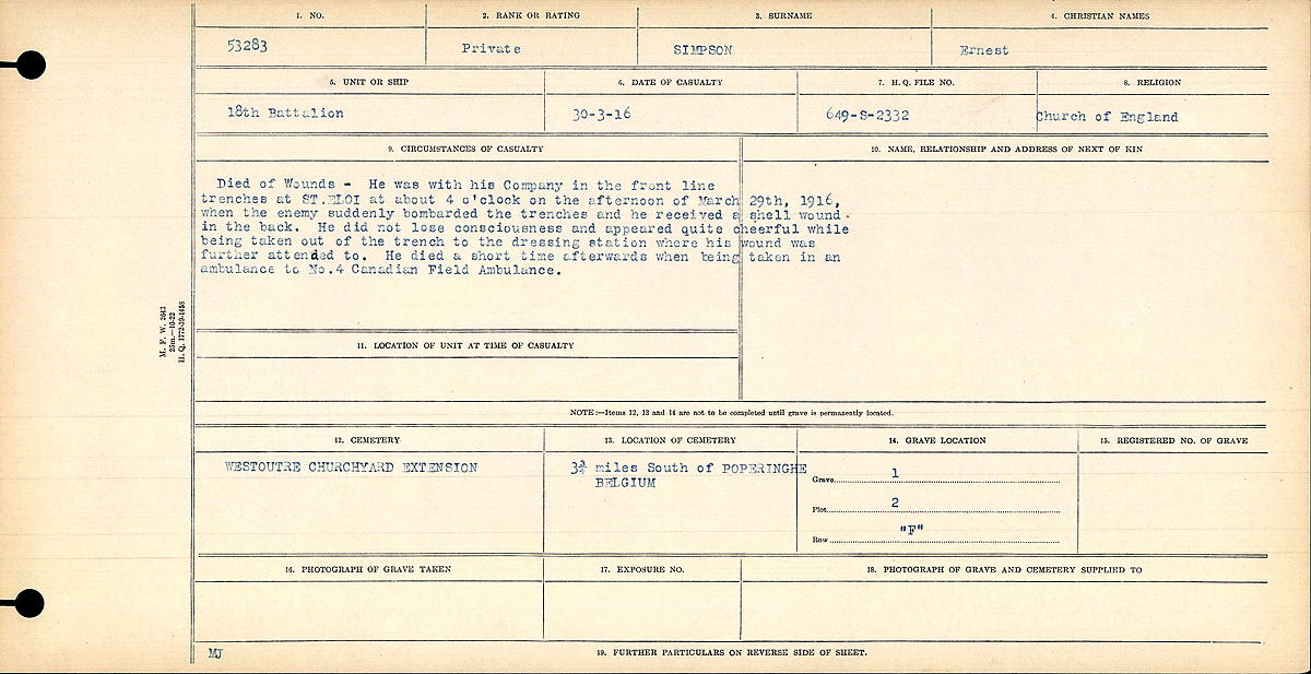 Circumstances of Death Registers– Received a shell wound in his back at St. Eloi. Did not lose consciousness but later died at No. 4 Canadian Field Ambulance.jpg http://www.bac-lac.gc.ca/eng/discover/mass-digitized-archives/circumstances-death-registers/Pages/item.aspx?PageID=82441