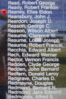 Memorial– Flying Officer Elias Eldon Reaney is commemorated on the Bomber Command Memorial Wall in Nanton, AB … photo courtesy of Marg Liessens