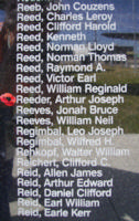 Memorial– Flying Officer Arthur Joseph Reeder is commemorated on the Bomber Command Memorial Wall in Nanton, AB … photo courtesy of Marg Liessens