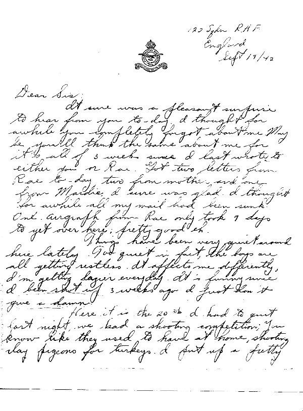 Letter from Emile Regis to home (page 1)