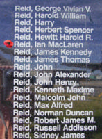 Memorial– Flight Sergeant Ian MacLaren Reid is also commemorated on the Bomber Command Memorial Wall in Nanton, AB … photo courtesy of Marg Liessens