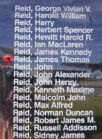 Memorial– Flight Sergeant James Thomas Reid is commemorated on the Bomber Command Memorial Wall in Nanton, AB … photo courtesy of Marg Liessens
