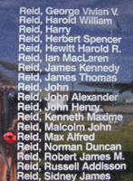 Memorial– Flight Sergeant Max Alfred Reid is commemorated on the Bomber Command Memorial Wall in Nanton, AB … photo courtesy of Marg Liessens