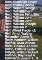 Memorial– Flight Sergeant Wilbert George Reid is commemorated on the Bomber Command Memorial Wall in Nanton, AB … photo courtesy of Marg Liessens