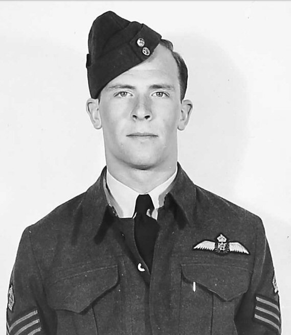 Photo of Thomas Gifford Robb– Flight Sergeant Thomas Gifford Robb (SN R/128922) while a staff pilot at No.7 Bombing & Gunnery School (McDonald Manitoba) on 21 July 1943.