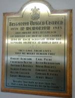 Roll of Honour– Britannia United Church, Ottawa, Ontario honour roll