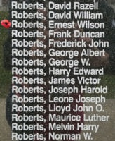 Memorial– Flight Sergeant Ernest Wilson David Roberts is also commemorated on the Bomber Command Memorial Wall in Nanton, AB … photo courtesy of Marg Liessens