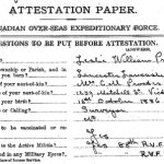 Attestation Papers– Attestation paper (page 1) for Leslie William Proctor. Source: National Archives of Canada.
