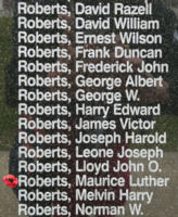 Memorial– Warrant Officer Class II Maurice Luther Roberts is also commemorated on the Bomber Command Memorial Wall in Nanton, AB … photo courtesy of Marg Liessens