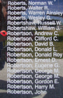 Memorial– Flight Sergeant Andrew Crawford Stark Robertson is also commemorated on the Bomber Command Memorial Wall in Nanton, AB … photo courtesy of Marg Liessens