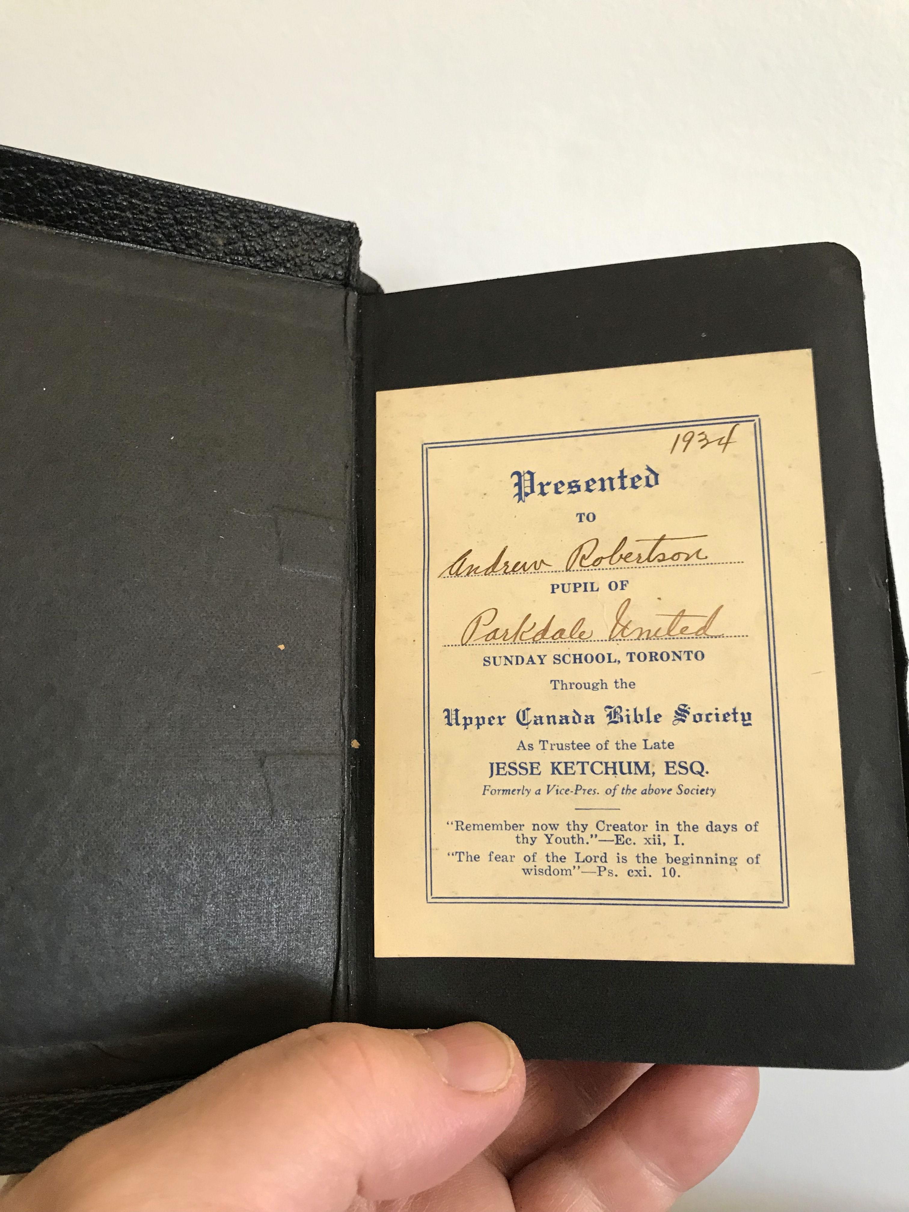 Photo of Andrew's Bible.
