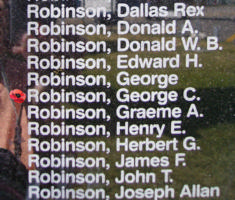 Memorial– Flying Officer George Creighton Robinson is also commemorated on the Bomber Command Memorial Wall in Nanton, AB … photo courtesy of Marg Liessens