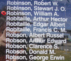 Memorial– Sergeant William Albert Robinson is also commemorated on the Bomber Command Memorial Wall in Nanton, AB … photo courtesy of Marg Liessens