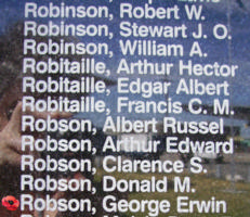 Memorial– Flight Sergeant George Erwin Robson is also commemorated on the Bomber Command Memorial Wall in Nanton, AB … photo courtesy of Marg Liessens