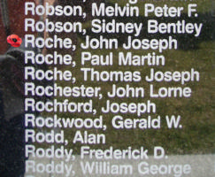 Memorial– Flight Sergeant John Joseph Roche is also commemorated on the Bomber Command Memorial Wall in Nanton, AB … photo courtesy of Marg Liessens