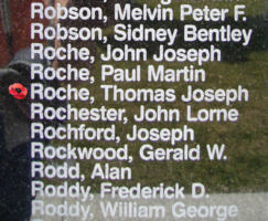 Memorial– Warrant Officer Class II Thomas Joseph Roche is also commemorated on the Bomber Command Memorial Wall in Nanton, AB … photo courtesy of Marg Liessens