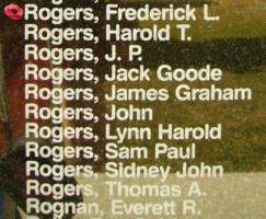 Memorial– Flying Officer Frederick Lennox Rogers is also commemorated on the Bomber Command Memorial Wall in Nanton, AB … photo courtesy of Marg Liessens