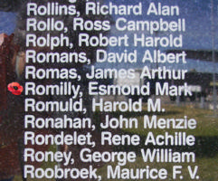 Memorial– Pilot Officer Esmond Mark David Romilly is also commemorated on the Bomber Command Memorial Wall in Nanton, AB … photo courtesy of Marg Liessens