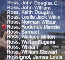 Memorial– Pilot Officer Roderick Menzie Ross is also commemorated on the Bomber Command Memorial Wall in Nanton, AB … photo courtesy of Marg Liessens