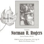 Memorial Page– Norman Rogers is honoured on page 53 of the Gananoque Remembers booklet, published on January 31, 2005.