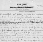 Journal– Entry in 27th Battery war diary which shows that the cause of death for Gunner N. R. Rogers was a premature explosion.
