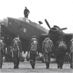 LV 935– NB: The aircraft and the crew shown  in the photo are not from the # LV 935 (Unknown)  The #1659 Heavy Conversion Unit Halifax aircraft #LV 935 was stationed at Topcliffe air base Yorkshire, England  April 8, 1945, LV 935 was on a practice bombing exercise that would normally be to one of the practice 'bombing ranges' along the east coast of England.  Usually this would involve a bit of navigation exercise as well, and this would normally always include a period of time over the sea.  The fact that the crew, are all commemorated at Runnymede suggests that they came down into the sea somewhere off the British coast during the navigation part of the exercise.  Casualty list of LV 935  J.G.L.R. Sicotte, Pilot/ O - J.A.R.G.  Héroux Flying/ O, J.L.P.Routhier Flying/ O J.E.Stillings Flying/O J.A.L. Potvin Warrant Officer 1 - J.C.P. Laferrière Flight/sgt J.C. Valiquette Flight/sgt  J.Stevenson Sergeant   All of them have no known grave and their names are inscribed on Runnymede Memorial.