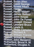 Memorial– Flight Sergeant Leonard Bruce Russell is also commemorated on the Bomber Command Memorial Wall in Nanton, AB … photo courtesy of Marg Liessens