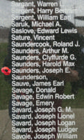Memorial– Warrant Officer Class II Joseph Evans Saunders is also commemorated on the Bomber Command Memorial Wall in Nanton, AB … photo courtesy of Marg Liessens