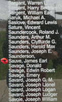 Memorial– Flying Officer James Earl Sauve is also commemorated on the Bomber Command Memorial Wall in Nanton, AB … photo courtesy of Marg Liessens