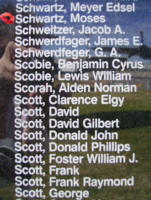 Memorial– Pilot Officer Moses Schwartz is commemorated on the Bomber Command Memorial Wall in Nanton, AB … photo courtesy of Marg Liessens
